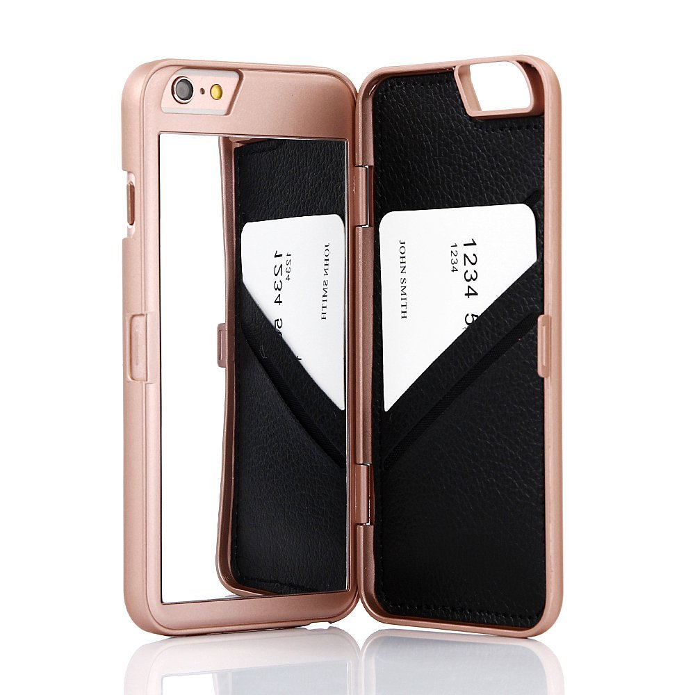 online store b9b80 b909e Wetben Hidden Back Mirror Wallet Case with Stand Feature and Card ...