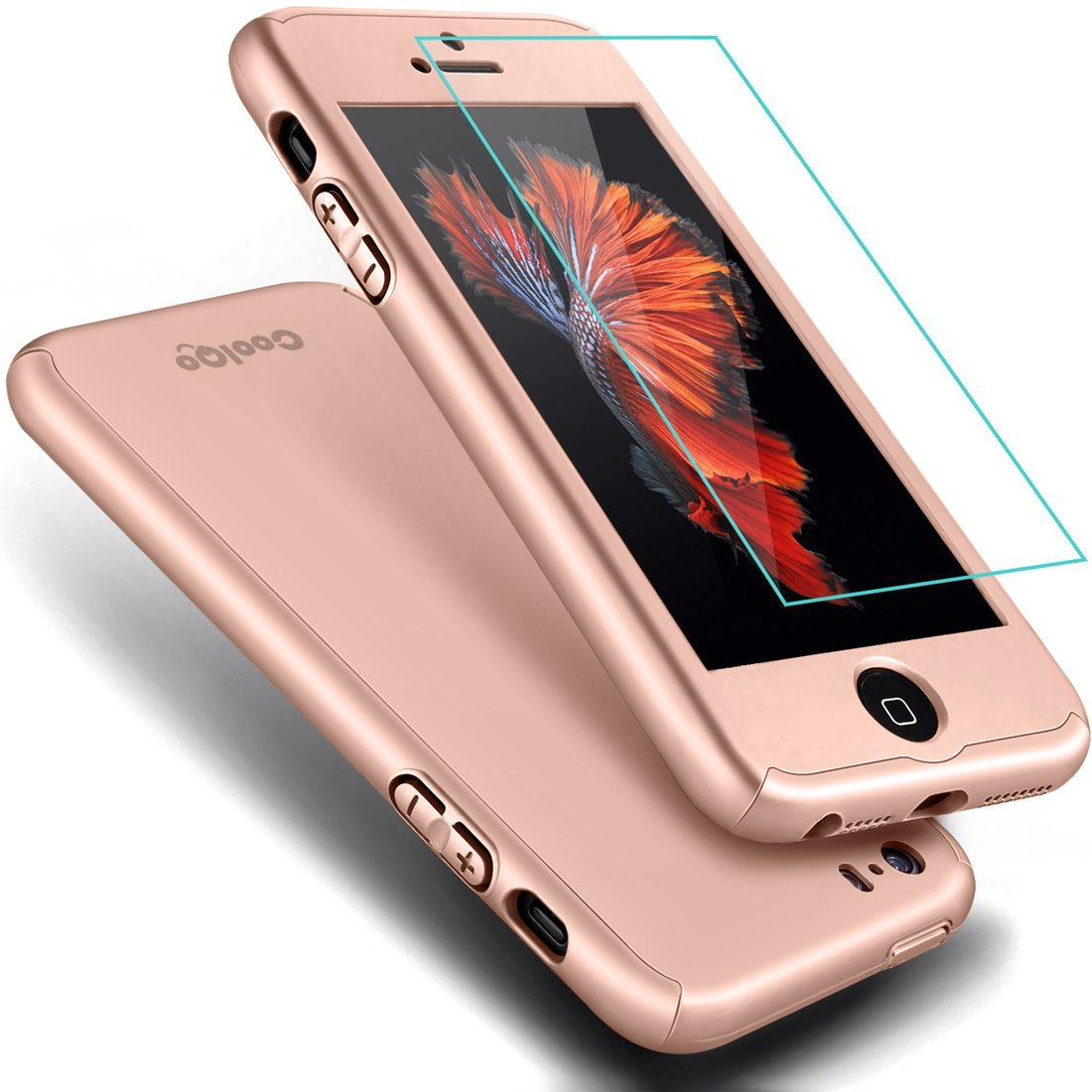 21a7e6e431 iPhone 5S Case,iPhone 5 Case, COOLQO® Full Body Coverage Ultra-thin Hard  Hybrid Plastic with [Slim Tempered Glass Screen Protector]